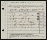 Entry card for Lasnik, Nathan for the 1956 May Show.