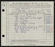 Entry card for McClean, Clara for the 1956 May Show.