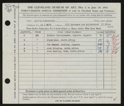 Entry card for McKinley, Melvin P. for the 1956 May Show.