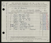Entry card for MacKenzie, John D. for the 1956 May Show.