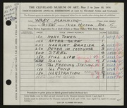 Entry card for Manning, Wray for the 1956 May Show.