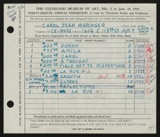 Entry card for Maringer, Carol for the 1956 May Show.