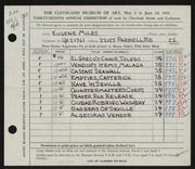 Entry card for Miles, Eugene R. for the 1956 May Show.