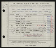 Entry card for Miller, Leon Gordon, and Sandon, Rudolph for the 1956 May Show.