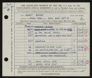 Entry card for Moore, Janet Gaylord for the 1956 May Show.
