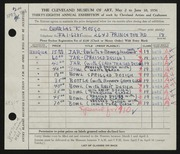 Entry card for Mosgo, Charles Francis for the 1956 May Show.