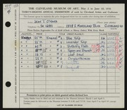 Entry card for O'Hara, Jean for the 1956 May Show.