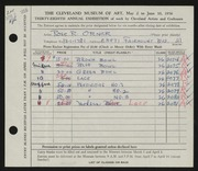 Entry card for Orner, Rose R. for the 1956 May Show.
