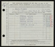 Entry card for Polanka, Helen for the 1956 May Show.