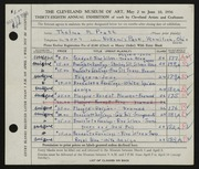 Entry card for Pratt, Thelma M. for the 1956 May Show.