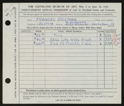 Entry card for Reisman, Frances for the 1956 May Show.