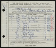 Entry card for Rosenberg, Yetta for the 1956 May Show.