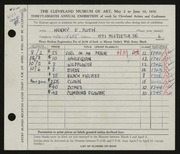 Entry card for Roth, Henry E. for the 1956 May Show.