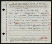 Entry card for Samolar, Esther R. for the 1956 May Show.