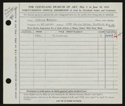 Entry card for Schepis, Anthony Joseph for the 1956 May Show.