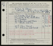 Entry card for Shaw, Elsa Vick for the 1956 May Show.