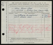 Entry card for Shaw, Glenn M. for the 1956 May Show.