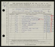 Entry card for Shewitz, Newson H. for the 1956 May Show.