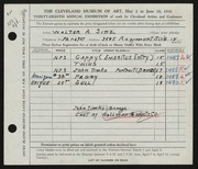 Entry card for Sinz, Walter A. for the 1956 May Show.