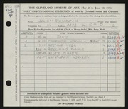 Entry card for Stanczak, Julian for the 1956 May Show.