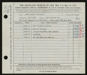 Entry card for Strickland, James Dudley for the 1956 May Show.