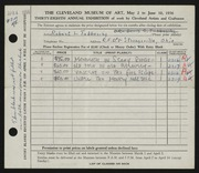 Entry card for Tubbesing, Robert L. for the 1956 May Show.