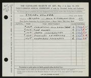 Entry card for Volper, Israel for the 1956 May Show.