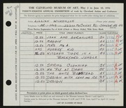 Entry card for Wilkenloh, Lillian for the 1956 May Show.