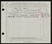 Entry card for Wilkens, Lillian M. for the 1956 May Show.