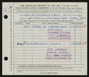 Entry card for John W. Winterich & Associates, and Korn, Otto; Csicsery, Sigmund; Szappanos, Steve; McKeage, George; Jamme, Zia; Weber, George; Schweda, Bill; Eckhardt, Fred, Sr. for the 1956 May Show.