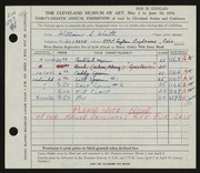 Entry card for Worth, William S. for the 1956 May Show.
