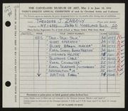 Entry card for Zaboly, T. J. for the 1956 May Show.