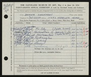 Entry card for Zackman, Donna for the 1956 May Show.