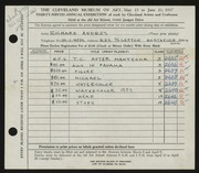 Entry card for Andres, Richard for the 1957 May Show.