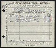 Entry card for Beller, Dos for the 1957 May Show.