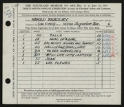 Entry card for Bradley, Harold for the 1957 May Show.