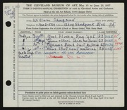 Entry card for Chapman, William for the 1957 May Show.