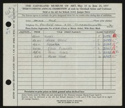 Entry card for Cole, Helen Champney for the 1957 May Show.