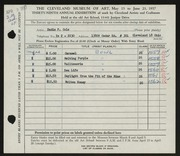 Entry card for Cole, Sadie F. for the 1957 May Show.