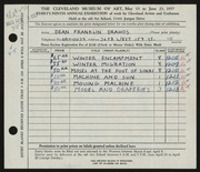 Entry card for Drahos, Dean Franklin for the 1957 May Show.