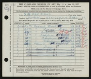 Entry card for Flaws, S. Allean for the 1957 May Show.