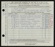 Entry card for Francis, Clyde Louis for the 1957 May Show.