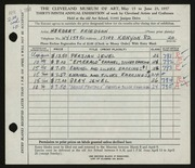 Entry card for Friedson, Herbert Harold for the 1957 May Show.