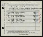 Entry card for Hecker, Shirley Brookins for the 1957 May Show.