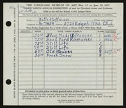 Entry card for Hoffman, Belle Mildred for the 1957 May Show.