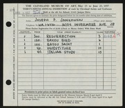 Entry card for Jankowski, Joseph Paul for the 1957 May Show.