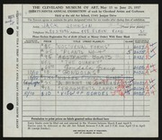 Entry card for Johnson, Jack E. for the 1957 May Show.
