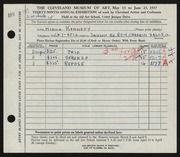 Entry card for Kennedy, Monica for the 1957 May Show.