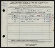 Entry card for Krasznai, Anthony for the 1957 May Show.