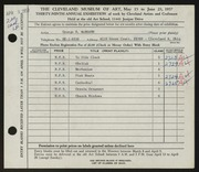Entry card for McBeath, George R. for the 1957 May Show.